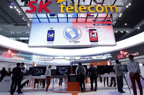 A view shows the SK Telecom booth at the Mobile World Congress in Barcelona, February 26, 2013. The GSMA Mobile World Congress, representing