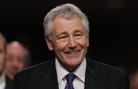Former U.S. Senator Chuck Hagel (R-NE) testifies during a Senate Armed Services Committee hearing on his nomination to be Defense Secretary,