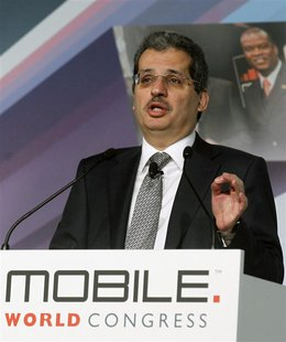 Qtel Group CEO Nasser Marafih gestures during a news conference at the Mobile World Congress in Barcelona, February 26, 2013. REUTERS/Albert