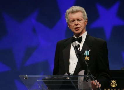 Pianist Van Cliburn speaks before the presentation of the Liberty Medal at the National Constitution Center in Philadelphia, Pennsylvania, S