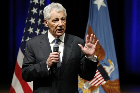 U.S. Secretary of Defense Chuck Hagel speaks to service members and civilian employees on his first day in his new post after being sworn in