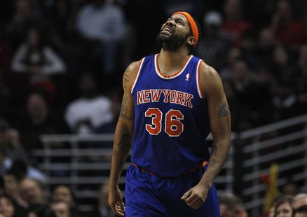 New York Knicks' Rasheed Wallace reacts to a referee's call against the Chicago Bulls during the first half of their NBA game in Chicago, in