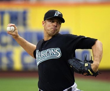 Florida Marlins starting pitcher Javier Vazquez throws a pitch to the New York Mets in the first inning of their MLB National League basebal