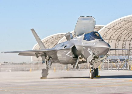 Third Marine Aircraft Wing's first F-35B arrives on the Marine Corps Air Station Yuma flightline, in Yuma, Arizona, in this U.S. Marine Corp