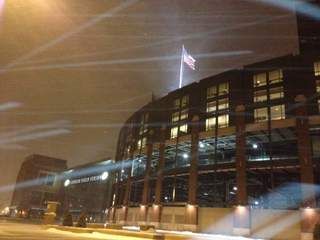 Snow and wind near Lambeau Field on February 27, 2013. (courtesy of FOX 11).