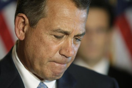 U.S. House Speaker John Boehner (R-OH) pauses during remarks at a news conference at the U.S. Capitol in Washington, February 25, 2013. REUT