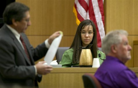 Jodi Arias testifies during cross examination by prosecutor Juan Martinez in Maricopa County Superior Court in Phoenix, Arizona, February 27