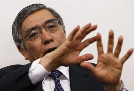 Asian Development Bank President Haruhiko Kuroda speaks during a group interview in Tokyo in this February 11, 2013 file photo. REUTERS/Toru