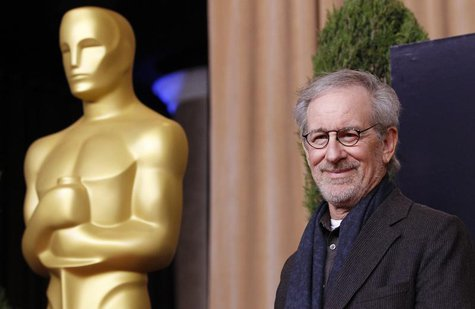 "Director Steven Spielberg, nominated for best picture and best director for ""Lincoln"", arrives at the 85th Academy Awards nominees luncheon"