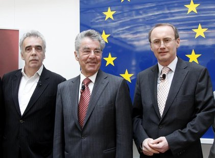 Othmar Karas, delegate of the European Parliament and member of Austria's Peoples Party (OeVP), Austrian President Heinz Fischer and Green P
