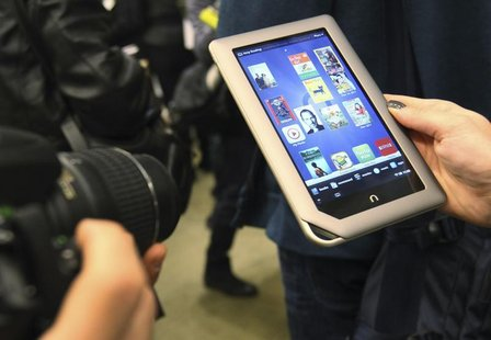 The new Nook Tablet is seen during a demonstration at the Union Square Barnes & Noble in New York, November 7, 2011. REUTERS/Shannon Staplet