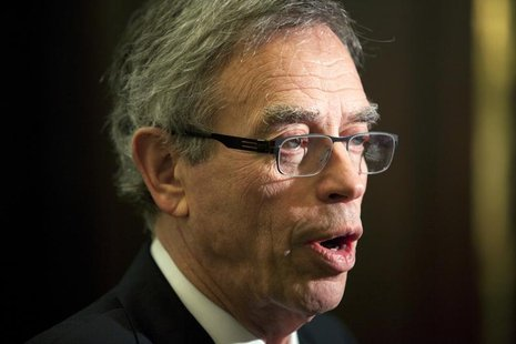 Joe Oliver, Canada's Minister of Natural Resources, talks to media after speaking at the Canadian Aboriginal Minerals Association's 20th Ann