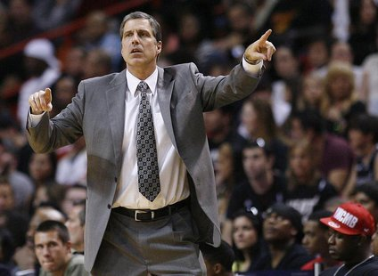 Washington Wizards' head coach Randy Wittman directs his team against the Miami Heat in the second half of their NBA basketball game in Miam