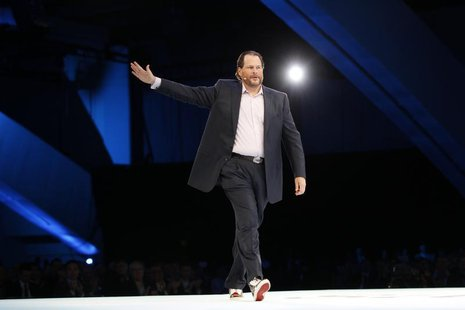 Salesforce CEO Marc Benioff gestures as he speaks during the Dreamforce event in San Francisco, California September 19, 2012. REUTERS/Rober