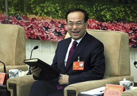 Sun Zhengcai, then party chief of Jilin province attends a meeting held on the sidelines of the 18th National Congress of the CPC, in Beijin