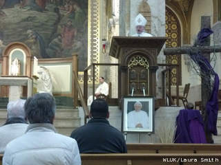Bishop David Ricken of the Catholic Diocese of Green Bay celebrates a Mass of thanksgiving in honor of Pope Benedict XVI at St. Francis Xavier Cathedral in Green Bay, Feb. 28, 2013. (courtesy of FOX 11).