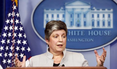Homeland Security Secretary Janet Napolitano speaks about the effects of the sequester from the White House in Washington February 25, 2013.