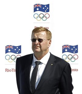 Australian Olympic Committee (AOC) President John Coates attends a media event in Sydney to announce Rio Tinto's sponsorship of the AOC, Apr