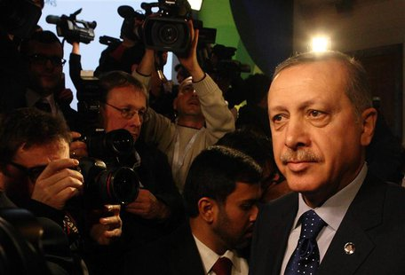Turkey's Prime Minister Tayyip Erdogan arrives for the fifth United Nations Alliance of Civilizations (UNAOC) forum in Vienna, February 27,