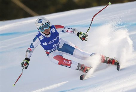 Tina Weirather of Liechtenstein speeds down during the women's Alpine Skiing World Cup super-G race in Garmisch-Partenkirchen March 1, 2013.