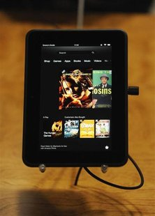 "The new Kindle Fire HD 7"" is on display at Amazon's Kindle Fire event in Santa Monica, California September 6, 2012. REUTERS/Gus Ruelas"