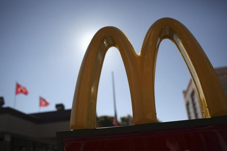 The McDonald's logo is pictured outside a McDonald's restaurant in the Fillmore District of San Francisco, California January 30, 2013. REUT