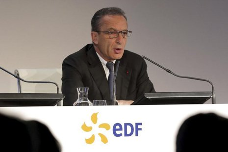 Henri Proglio, chief executive of French state-owned utility EDF, speaks during the company's 2012 annual result presentation in Paris Febru