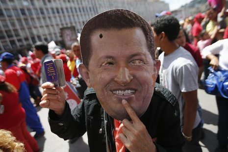 A supporter of Venezuela's President Hugo Chavez wears a mask depicting him during a rally in Caracas February 27, 2013. REUTERS/Jorgre Silv