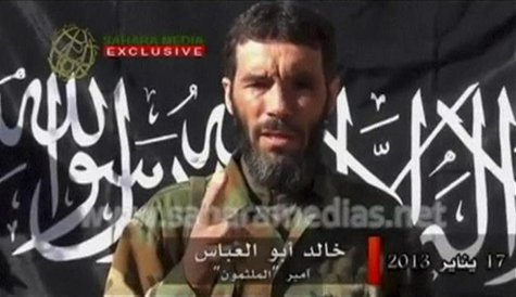 Veteran jihadist Mokhtar Belmokhtar speaks in this undated still image taken from a video released by Sahara Media on January 21, 2013. REUT