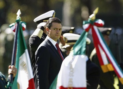 Mexico's President Enrique Pena Nieto looks on during Flag Day celebrations at Campo Marte in Mexico City February 24, 2013. REUTERS/Bernard
