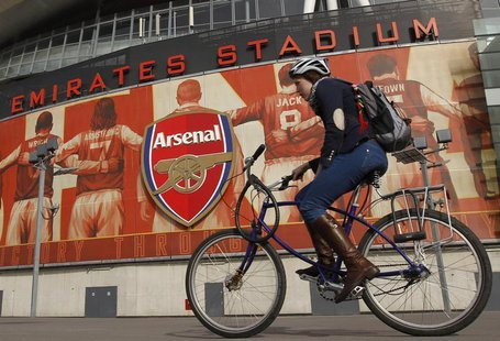 The crest of English Premier League soccer club Arsenal is seen in front of their home ground, the Emirates Stadium, in London April 11, 201