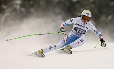 Anna Fenninger of Austria speeds down during the women's Alpine Skiing World Cup Downhill race in Garmisch-Partenkirchen March 2, 2013. REUT