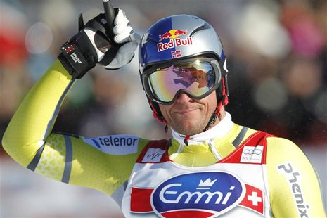 Aksel Lund Svindal of Norway reacts at the finish of the Alpine Skiing World Cup downhill race in Kvitfjell March 2, 2013. REUTERS/Geir Olse
