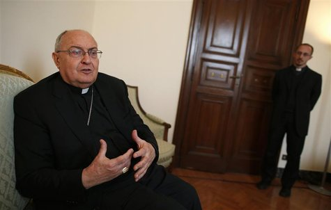Cardinal Leonardo Sandri gestures during an interview with Reuters in Rome, March 2, 2013. REUTERS/Tony Gentile