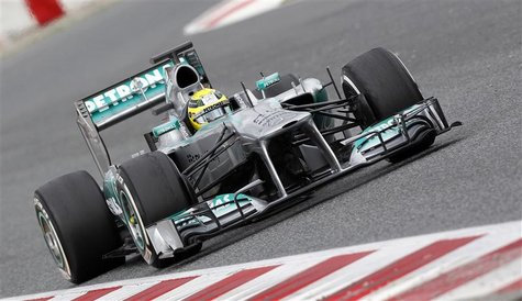 Mercedes GP's Formula One driver Nico Rosberg of Germany drives during a training session at Circuit de Catalunya racetrack in Montmelo, nea