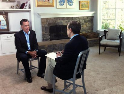 Former Republican presidential candidate Mitt Romney (L) speaks with FOX News Sunday's Chris Wallace at his son's home in San Diego, Califor