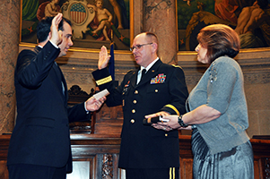 Wisconsin Army National Guard's Assistant Adjutant General for Readiness and Training  Mark Michie sworn in during his promotion to the rank of Brigadier General.