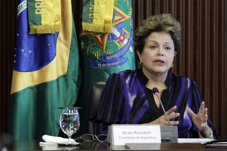 Brazil's President Dilma Rousseff reacts during a meeting of the National Council for Scientific and Technological Development at the Planal