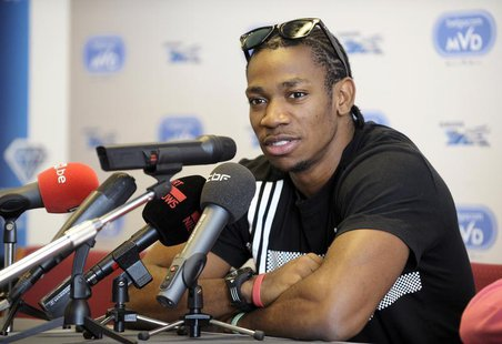 Sprinter Yohan Blake of Jamaica addresses a news conference during the upcoming Memorial Van Damme, IAAF Diamond League athletics meeting, i