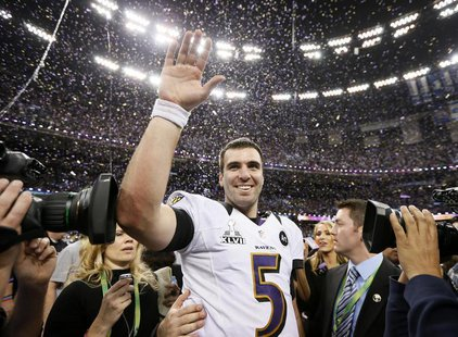 Baltimore Ravens quarterback Joe Flacco celebrates after his team defeated the San Francisco 49ers in the NFL Super Bowl XLVII football game