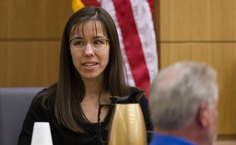 Jodi Arias testifies during cross examination by prosecutor Juan Martinez in Maricopa County Superior Court in Phoenix, Arizona, February 25