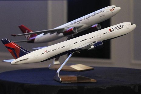 Aircraft models are seen following a news conference to announce the sale of Virgin Atlantic airline to Delta Air Lines, in New York Decembe