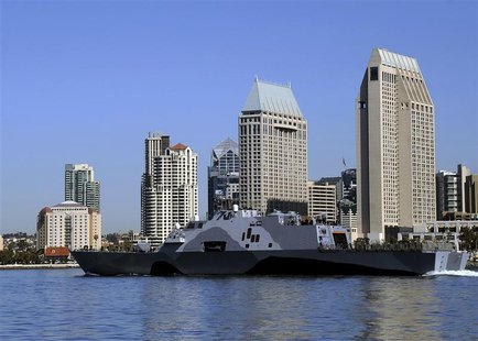 The littoral combat ship USS Freedom (LCS 1) departs for a deployment to the Asia-Pacific region, in San Diego Bay, California, March 1, 201