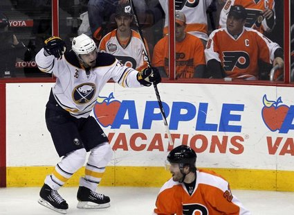 Buffalo Sabres winger Patrick Kaleta (top) celebrates his game winning goal against the Philadelphia Flyers during the third period of Game
