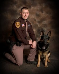 "Deputy Joe Zurfluh and K9 ""Toro"" from the Wood County Sheriff's Department"