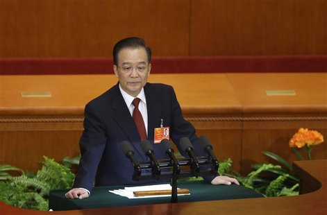 China's Premier Wen Jiabao delivers a speech during the opening ceremony of National People's Congress (NPC) at the Great Hall of the People