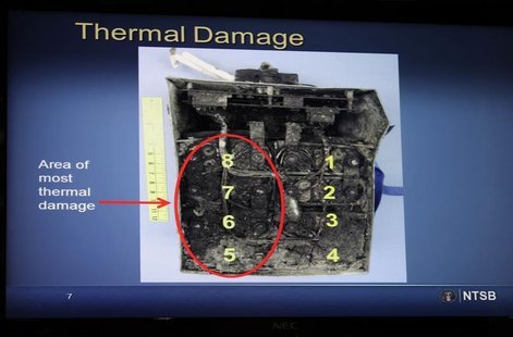Damaged batteries are seen on a screen during a news conference on an investigation into the January 7 fire that occurred on a Japan Airline