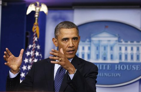 President Barack Obama speaks after a meeting with Congressional leaders in the Oval Office at the White House in Washington March 1, 2013.