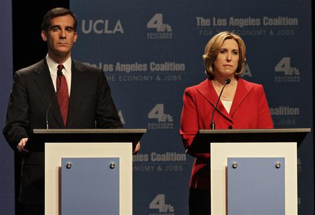 Los Angeles Mayoral candidates Eric Garcetti and Wendy Greuel on stage during a debate of candidates at UCLA's Royce Hall in Los Angeles, Ca