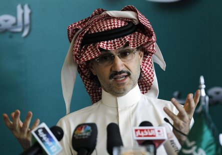 Saudi billionaire Prince Alwaleed bin Talal speaks at a news conference in Riyadh September 13, 2011. REUTERS/Fahad Shadeed